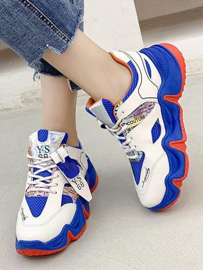 Scrisoare Print Colorblock Respirabilă Mesh Sneakers Running - Blueberry Blue Ue 37