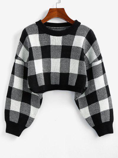 ZAFUL Plaid Drop Shoulder Crop Sweater - Black M