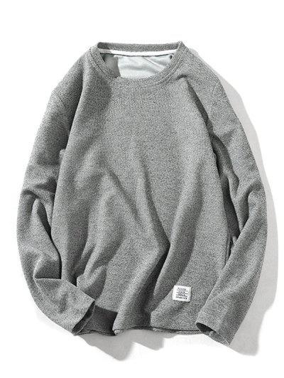 Pure Color Pullover Knitwear - Gray M