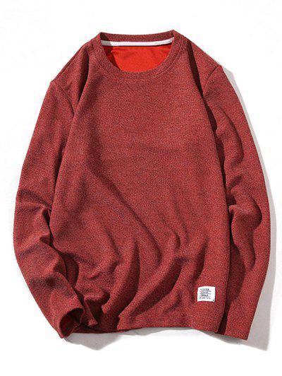 Одноцветный Трикотаж Пуловер - Красное вино S