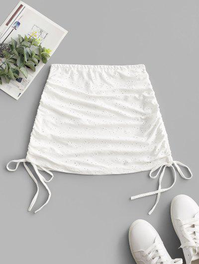 Cinched Eyelet Cover-up Skirt - White