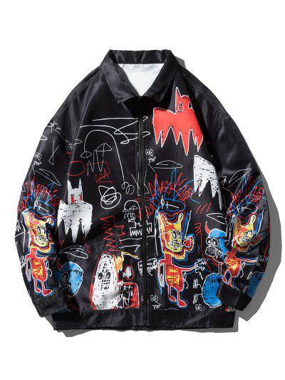 Graphic Graffiti Print Hip Hop Streetwear Jacket - Black Xl