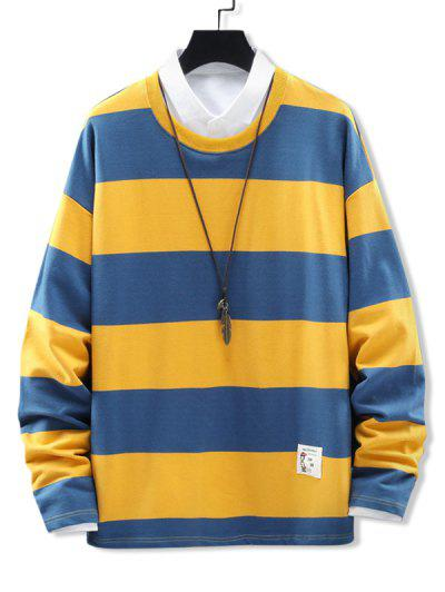 Crew Neck Stripes Patched Sweatshirt - Yellow 4xl