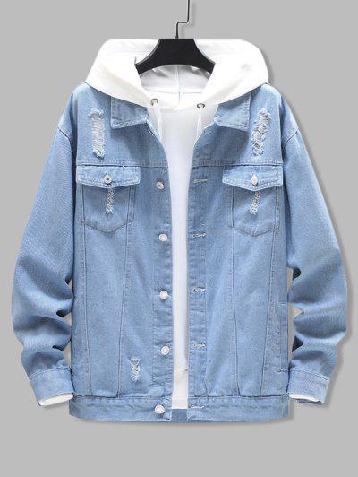 Distressed Ripped Flap Pocket Jean Jacket - Light Blue L