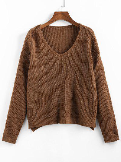 ZAFUL V Neck Drop Shoulder Slit Sweater - Coffee M