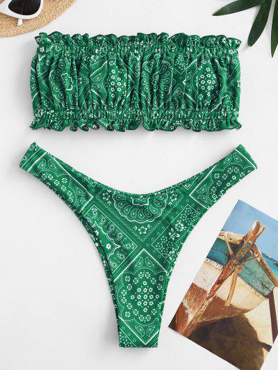 ZAFUL Vintage Printed Back Tie Bandeau Bikini Swimwear - Deep Green M