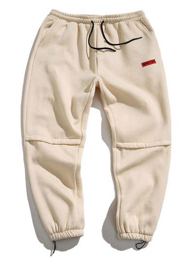 Letter Embroidered Applique Jogger Pants - Beige 4xl