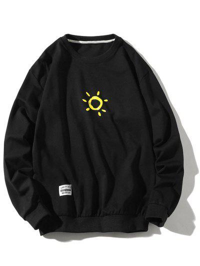 Cartoon Sun Printed Pullover Sweatshirt - Black Xs