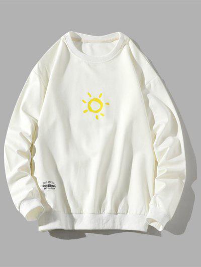 Sweat-shirt Pull-over Soleil Dessin Animé Imprimé - Blanc Xl