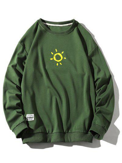 Cartoon Sun Printed Pullover Sweatshirt - Green S