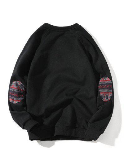 Raglan Sleeve Elbow Patchwork Sweatshirt - Black L