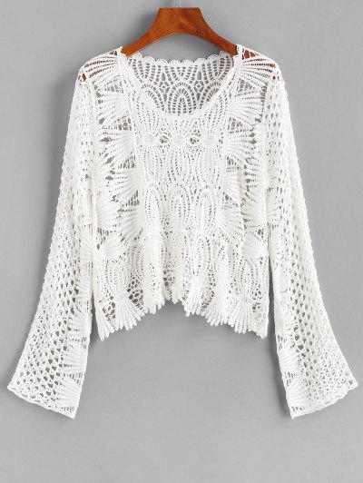 Hollow Out Crochet Cover Up Top - White