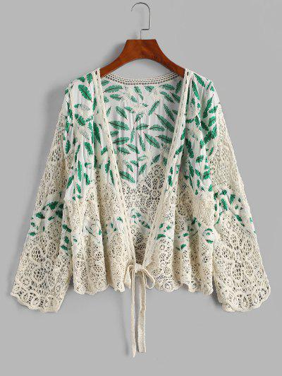 Leaves Print Crochet Panel Cover Up Cardigan - White