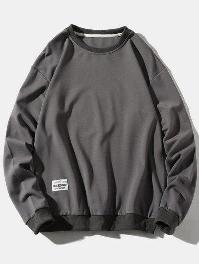 Pure Color Pullover Sweatshirt - Gray Xs