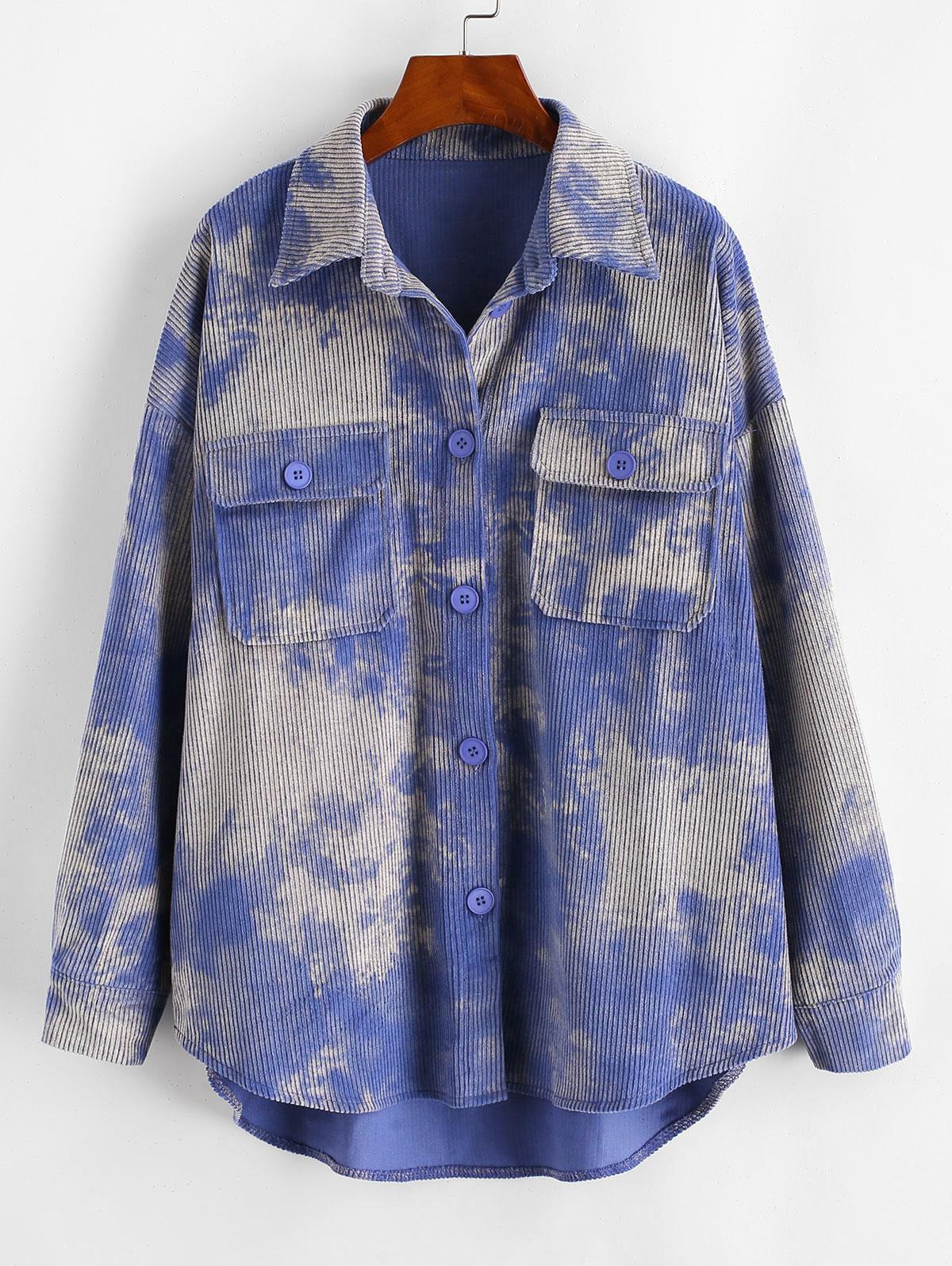 Tie Dye Corduroy Shirt Jacket