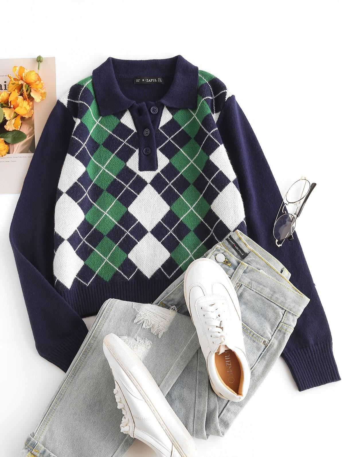Pullover Button Front Plaid Sweater