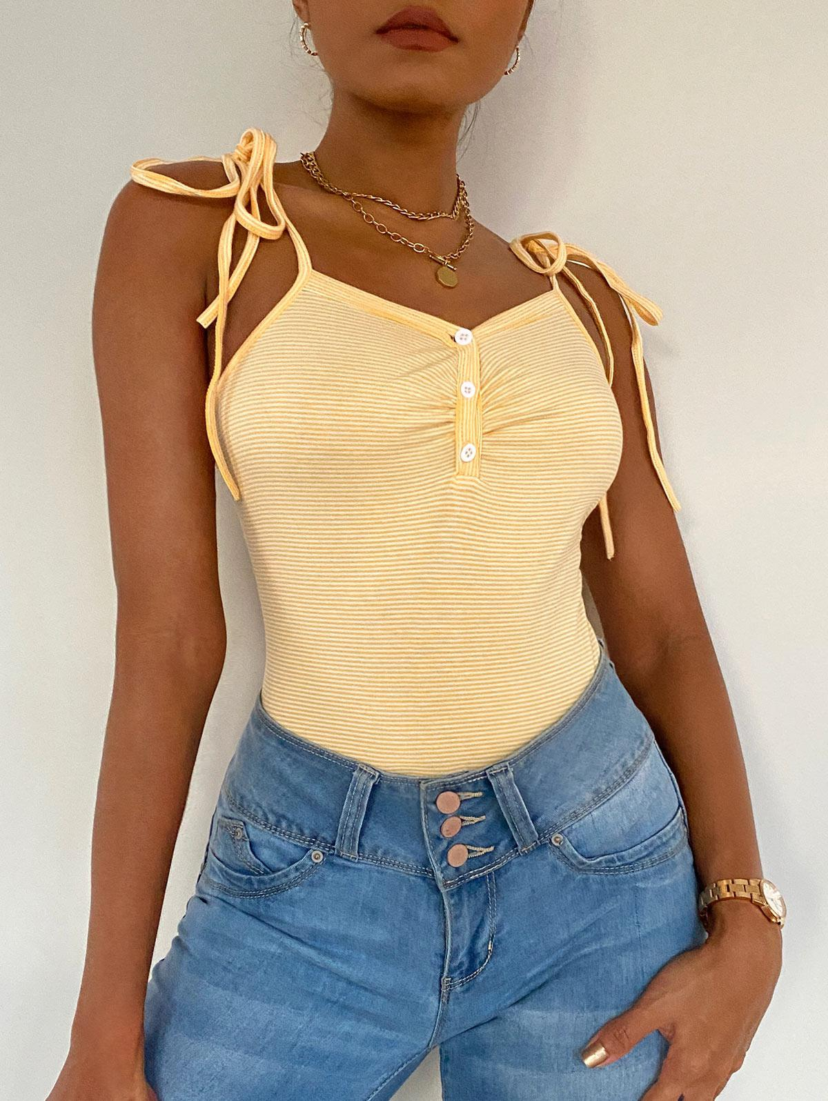 ZAFUL Striped Button Placket Cami Bodysuit