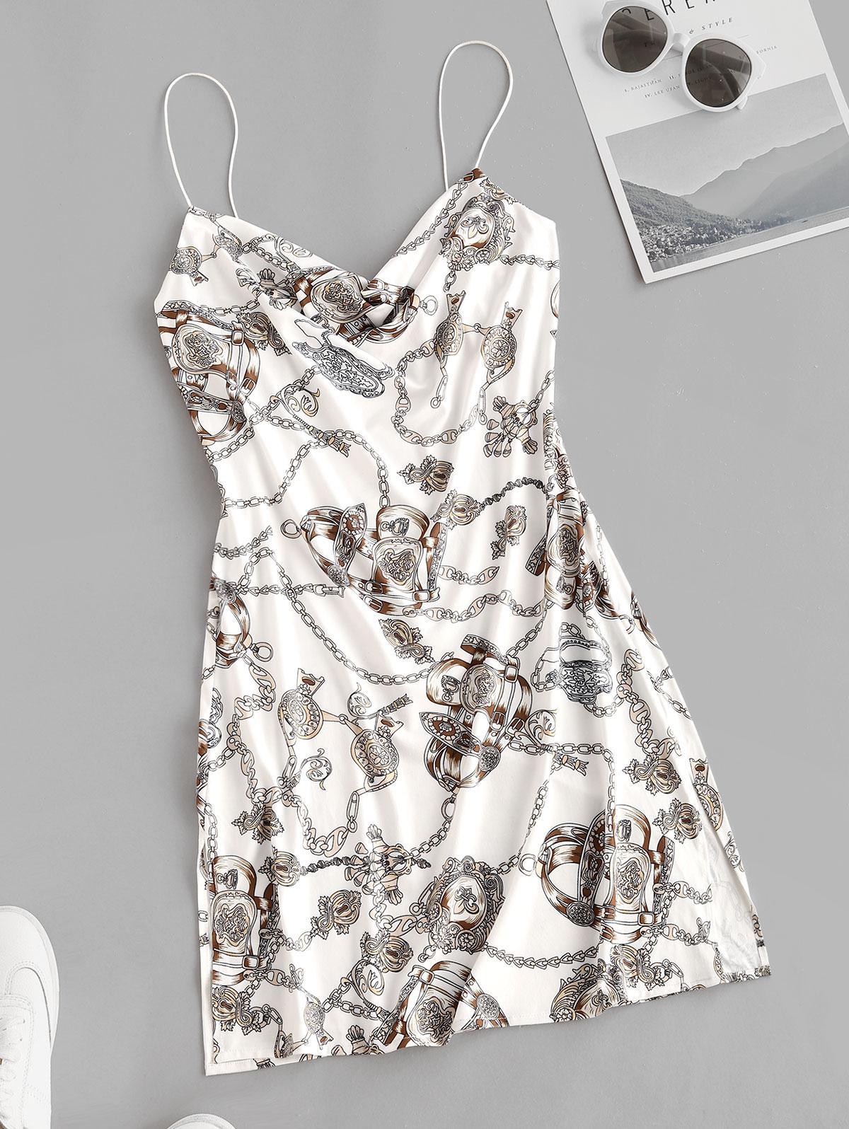 Cowl Neck Baroque Chain Print Cami Dress