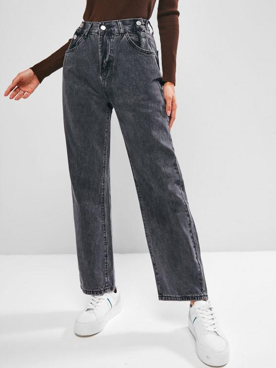 fancy Buttons High Waisted Wide Leg Jeans - BLACK M