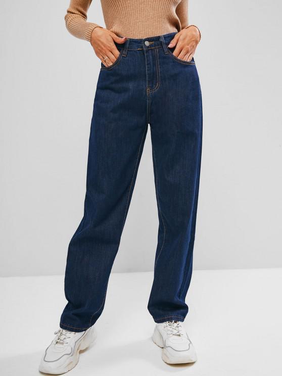 lady High Waisted Plain Straight Jeans - DEEP BLUE M