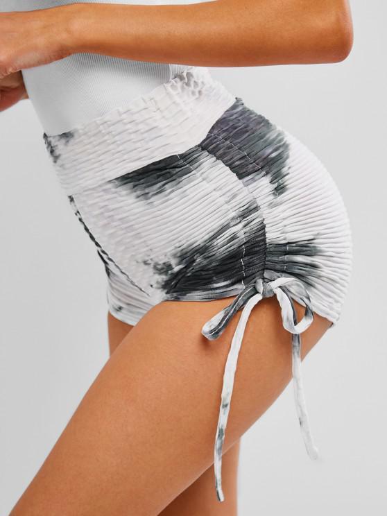 shop ZAFUL Tie Dye Anti-cellulite Cinched Gym Shorts - MULTI L