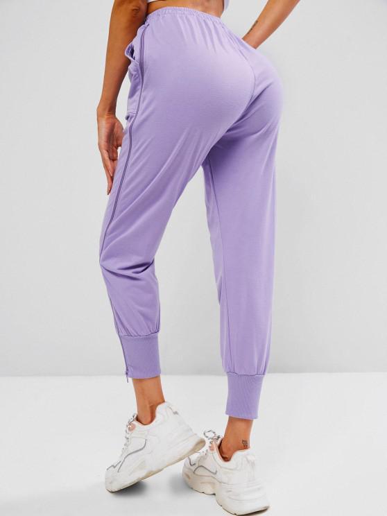 Zip Side Drawstring Pocket Jogger Pants - Light Purple L | ZAFUL