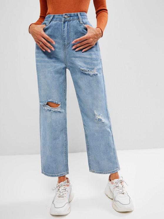 Jeans Rasgados Retos e Bordados com Padão de um Gato - Azul claro L