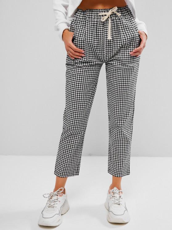 new Drawstring Gingham Ninth Tapered Pants - BLACK L