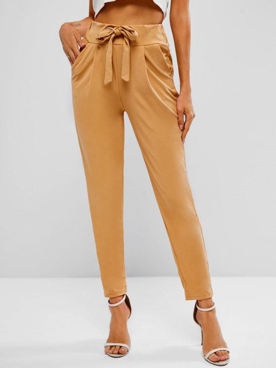shop Tie Grommets Pleated Tapered Pants - LIGHT COFFEE M