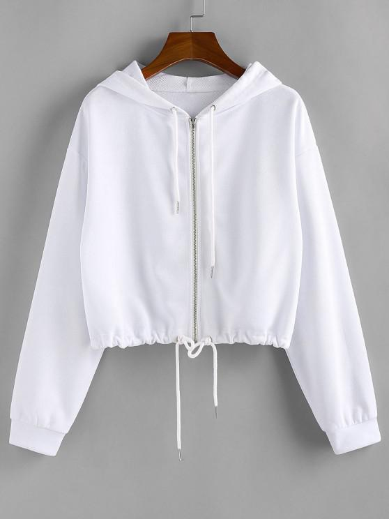 ZAFUL Drawstring Pure Zip Up Cropped Hoodie - أبيض L