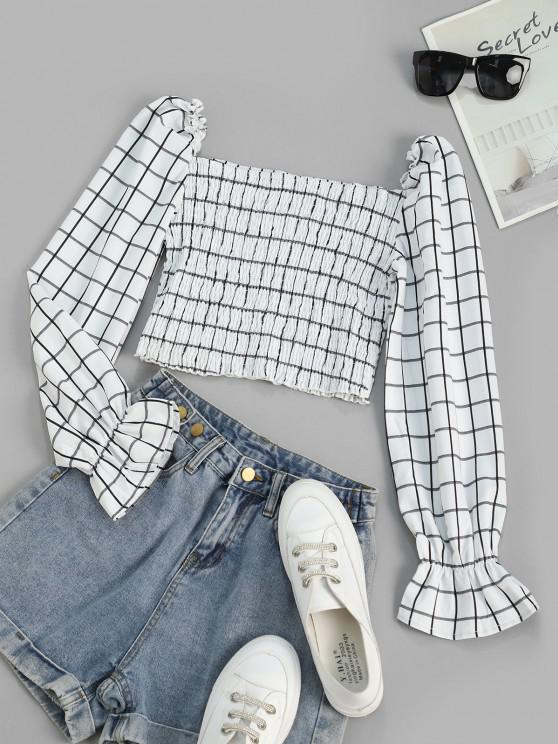 affordable Checked Smocked Poet Sleeve Milkmaid Top - WHITE M