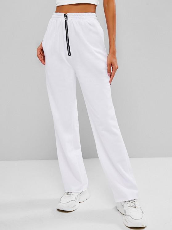 Pantalon de Survêtement à Demi-zip à Ourlet Brut - Blanc L