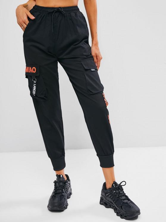 Pantalon Cargo Lettre Graphique à Pieds Etroits à Cordon - Noir M