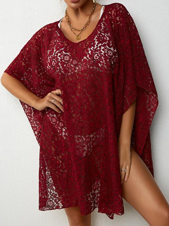 lady Lace Beach Kaftan Dress - DEEP RED ONE SIZE