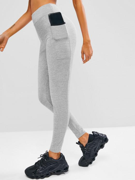 trendy Topstitch Heathered Side Pocket Gym Leggings - LIGHT GRAY M