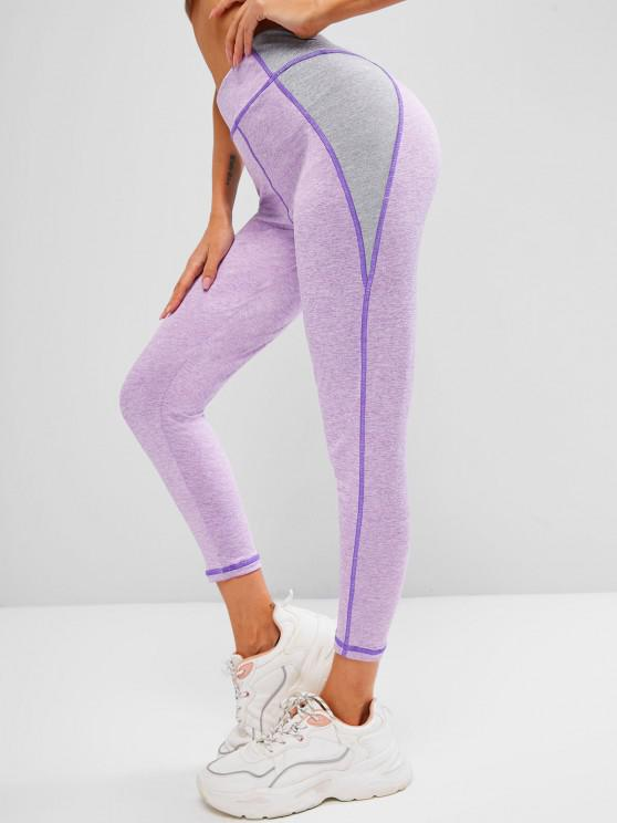 sale Space Dye Two Tone Topstitch Gym Leggings - LIGHT PURPLE S