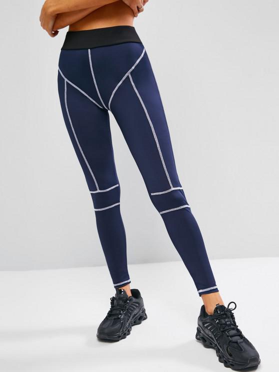 fashion Topstitch Contrast High Waisted Gym Leggings - DEEP BLUE M
