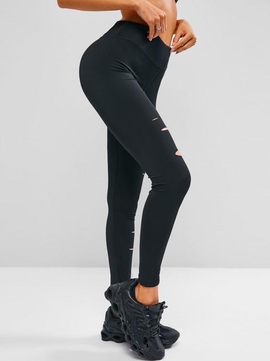 fancy Ripped Stretchy High Waisted Gym Leggings - BLACK S