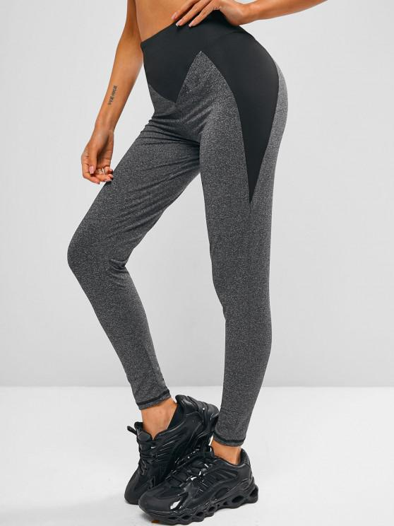 Two Tone Heathered Wide Waistband Gym Leggings - اللون الرمادي S