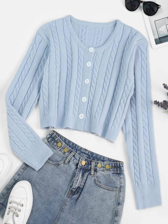 Cable Knit Button Front Cardigan SKY BLUE