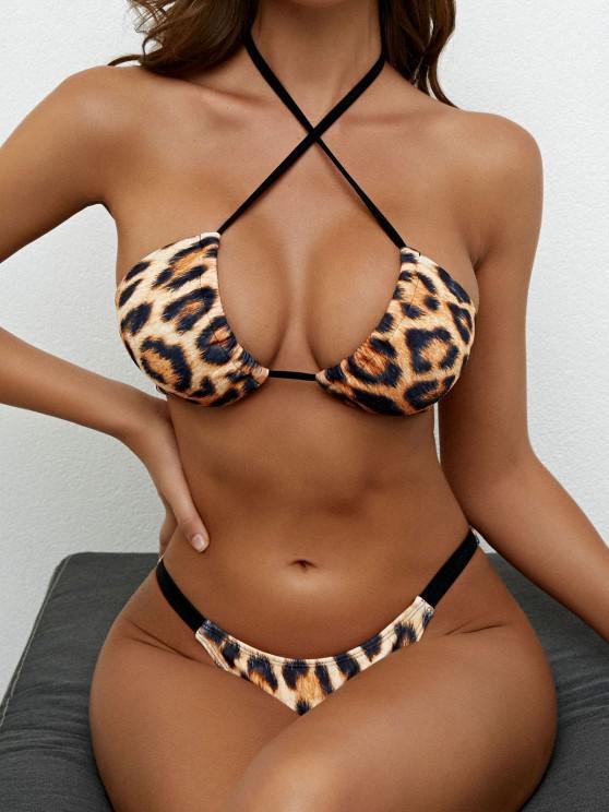 women ZAFUL Halter Animal Print Wrap Bikini Swimwear - COFFEE S