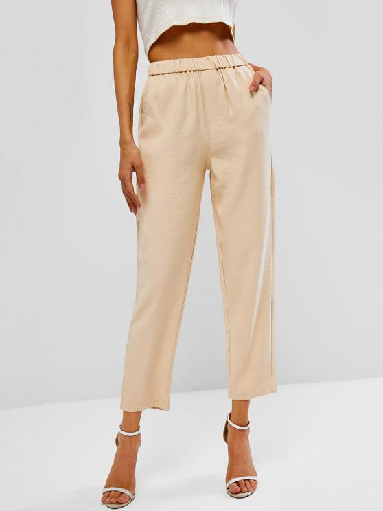 affordable Pocket High Waisted Straight Pants - LIGHT COFFEE XL