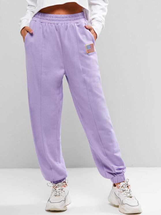 chic Seam Detail American Flag Patched Jogger Sweatpants - LIGHT PURPLE S