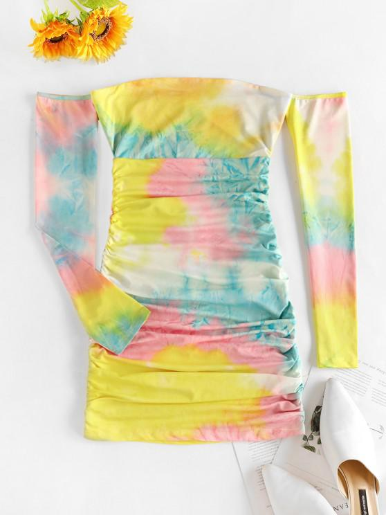 hot Off The Shoulder Tie Dye Ruched Bodycon Dress - YELLOW L