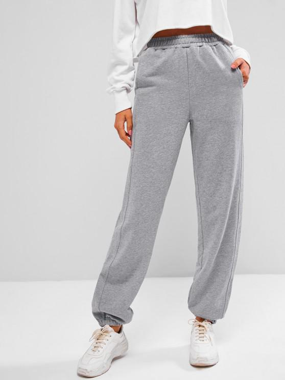outfit French Terry Drawstring Seam Detail Jogger Sweatpants - GRAY GOOSE S