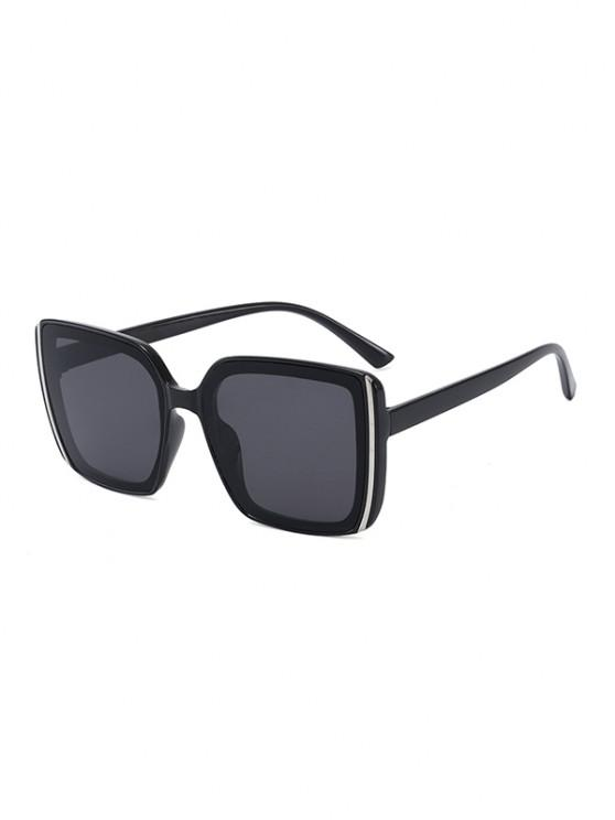women Stripe Design Square Oversized Sunglasses - BLACK