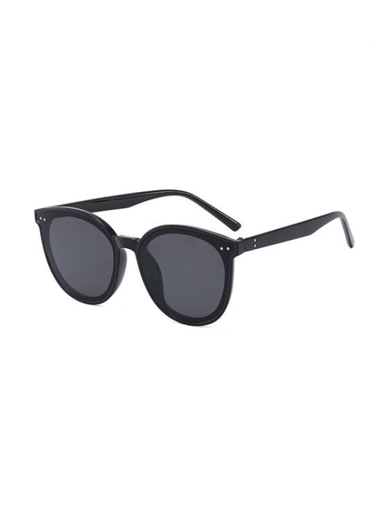 Anti UV Unisex Round Sunglasses - أسود