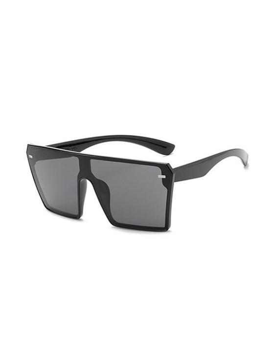 ladies Square Shield Oversized Sunglasses - BLACK