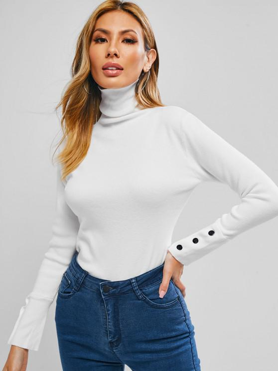 trendy Button Sleeve Turtleneck Basic Knitwear - MILK WHITE ONE SIZE