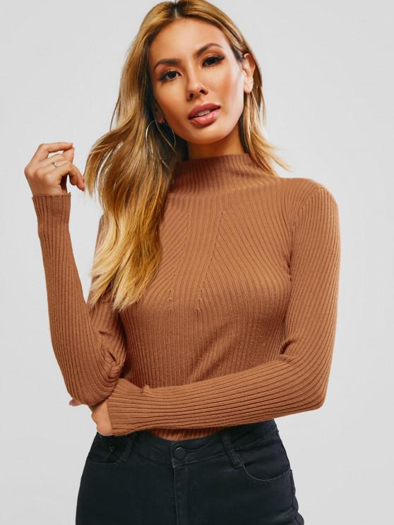 outfit Basic Ribbed High Neck Knitwear - LIGHT BROWN ONE SIZE